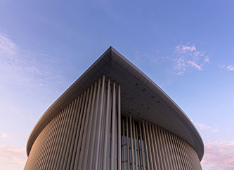 Philharmonie building in Kirchberg, Luxembourg city.