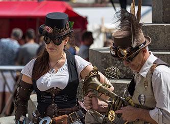 people dressed in costumes at SteamPunk convention
