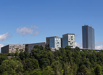 Kirchberg cityscape with European institutions buildings in Luxembourg city