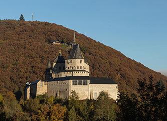 Vianden Castle in Luxembourg, autumn view.