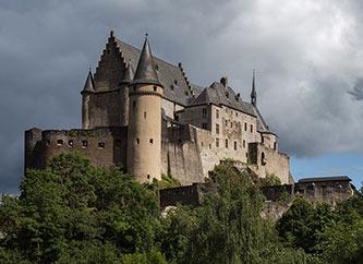 Vianden Castle in Ardennes region of Luxembourg.