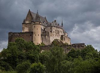 Vianden Castle, in Ardennes region, Luxembourg.