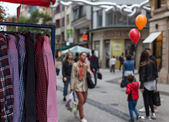 people shopping on Grand Rue in Luxembourg city