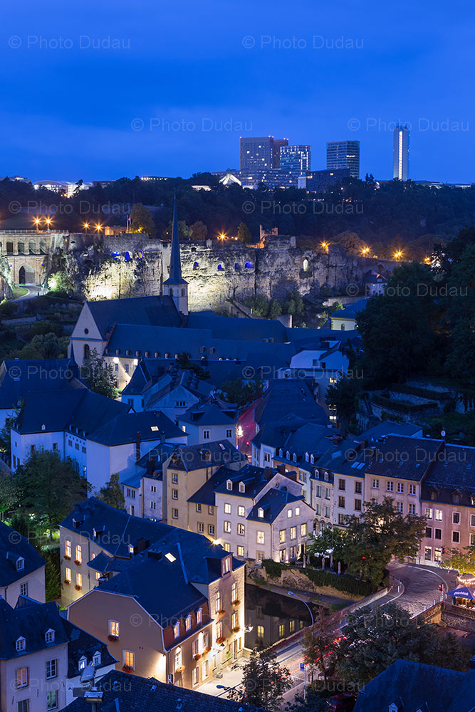 Luxembourg city night cityscape over Grund