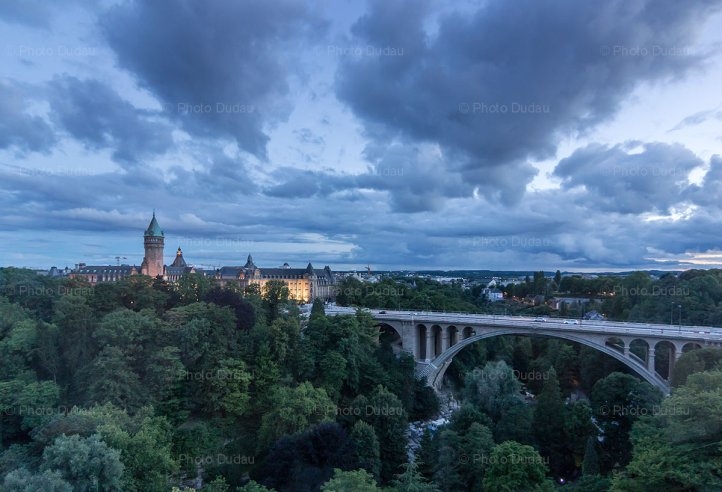 Luxembourg city dusk aerial view