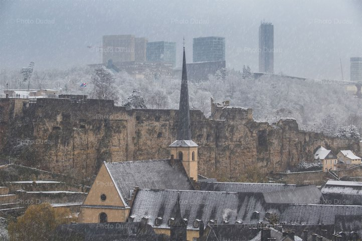 snowing over Luxembourg