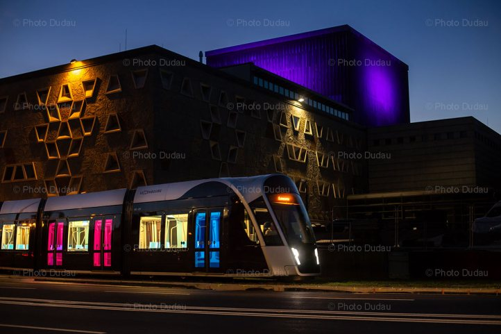 Tram passing Grand Theatre of Luxembourg
