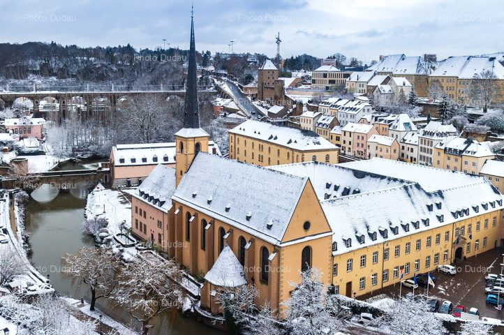 Luxembourg city under snow
