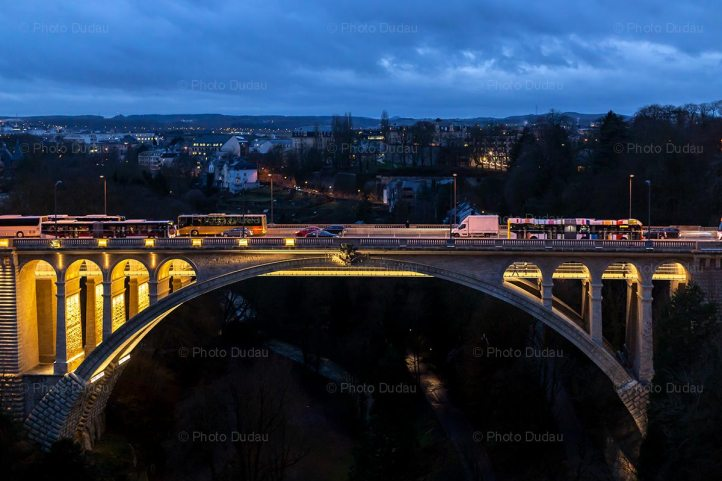 Pont Adolphe in Luxembourg at night