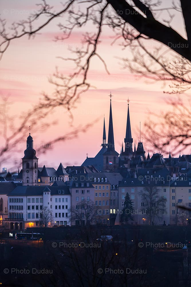 Sunset in Luxembourg city centre