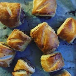 Homemade Sausage Rolls with bacon, onion and garlic