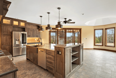 A Remodeled Kitchen With Wooden Kitchen Cabinets