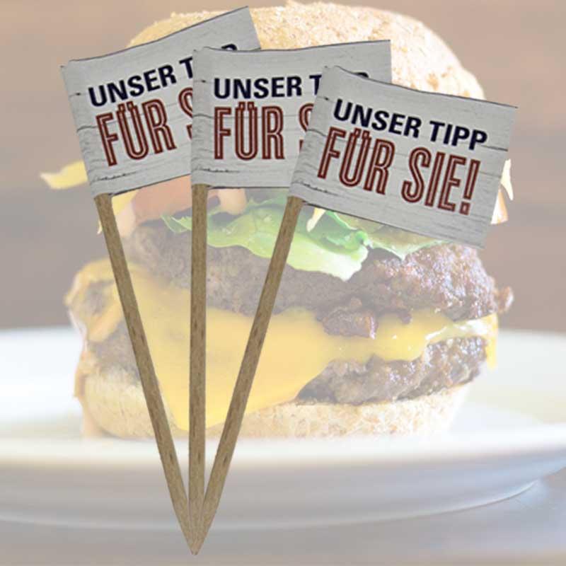 Burgerfähnchen bedrucken mit deinem Logo oder Motiv