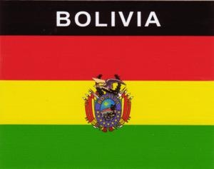 Aufkleber Bolivien, Länderaufkleber, Nationalflagge, Autoaufkleber
