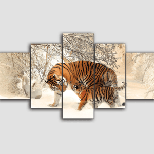 Canvas Print Split Panels (5 in 1) – Tiger