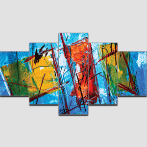 Canvas Print Split Panels (5 in 1) – Blue Abstract