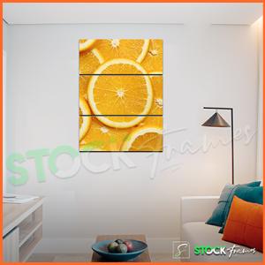 Canvas Prints Triptych – (3 Piece Orange Fruit Wall Art)