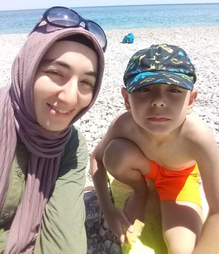 Mehtap Karpuzcu with her son