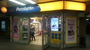 киоски pressbyran в метро Стокгольма, есть бесплатный wi fi
