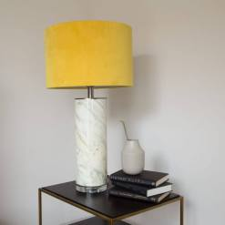 Glass Abstract Table Lamp with Mustard Velvet Shade