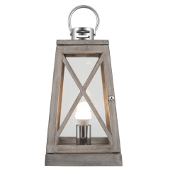 Grey Wash and Chrome Lantern Table Lamp