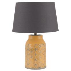 Mustard Etch Detail Stoneware Table Lamp