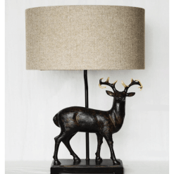 Stag Lamp with Herringbone Shade
