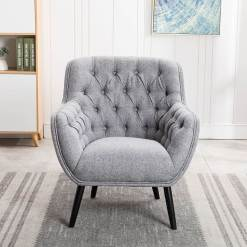 Cyrus Grey Fabric Armchair