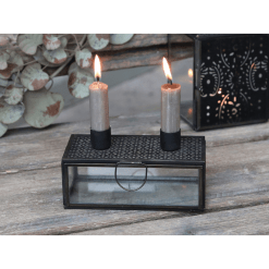 Charcoal Double Candlestick Holder