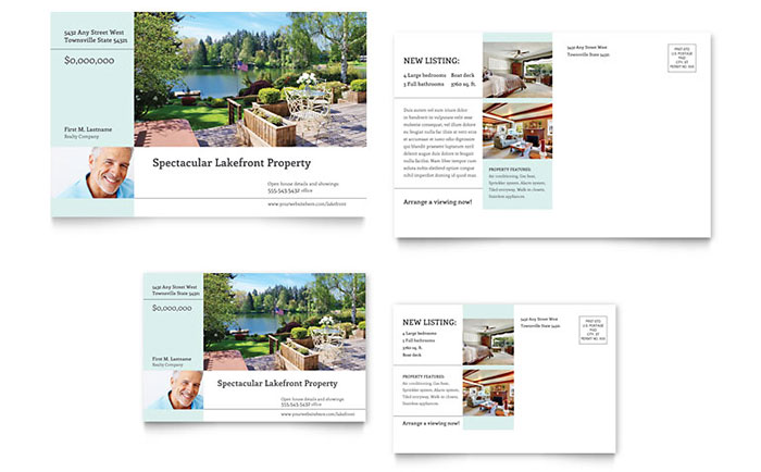 Lakefront Property Postcard Template Design