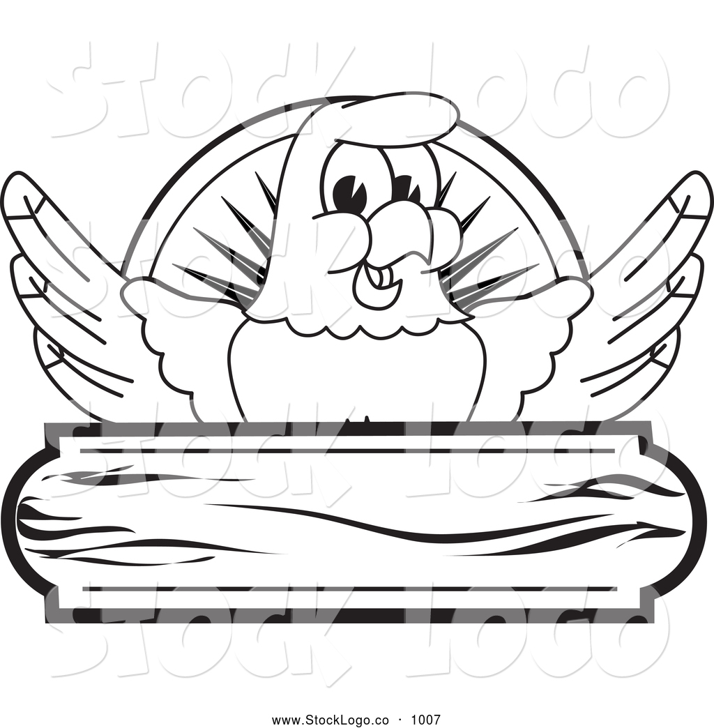 Vector Logo Of A Coloring Page Of A Bald Eagle Hawk Or
