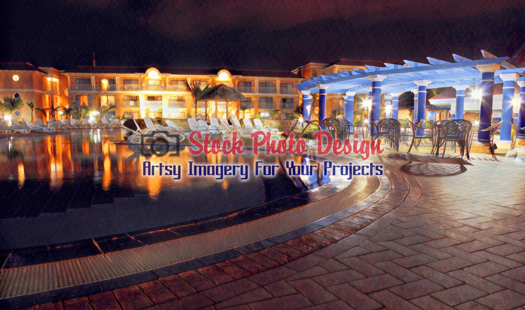 Tropical Resort Hotel at Night