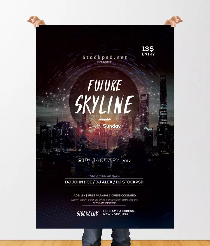 Future Skyline Free Event Psd Flyer Template Stockpsd Free