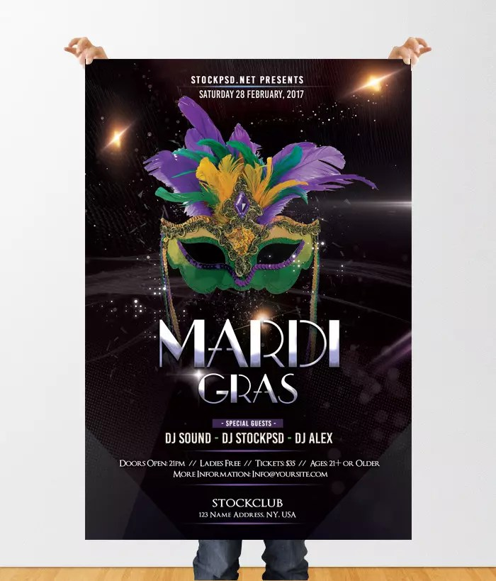 Mardi Gras Party Download Free Psd Flyer Template Stockpsd