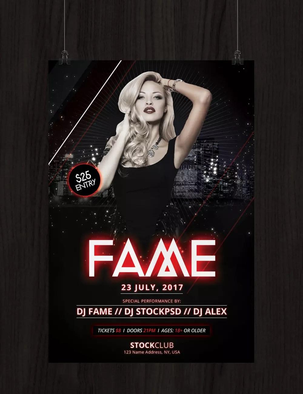 Fame download free psd photoshop flyer template fame saigontimesfo