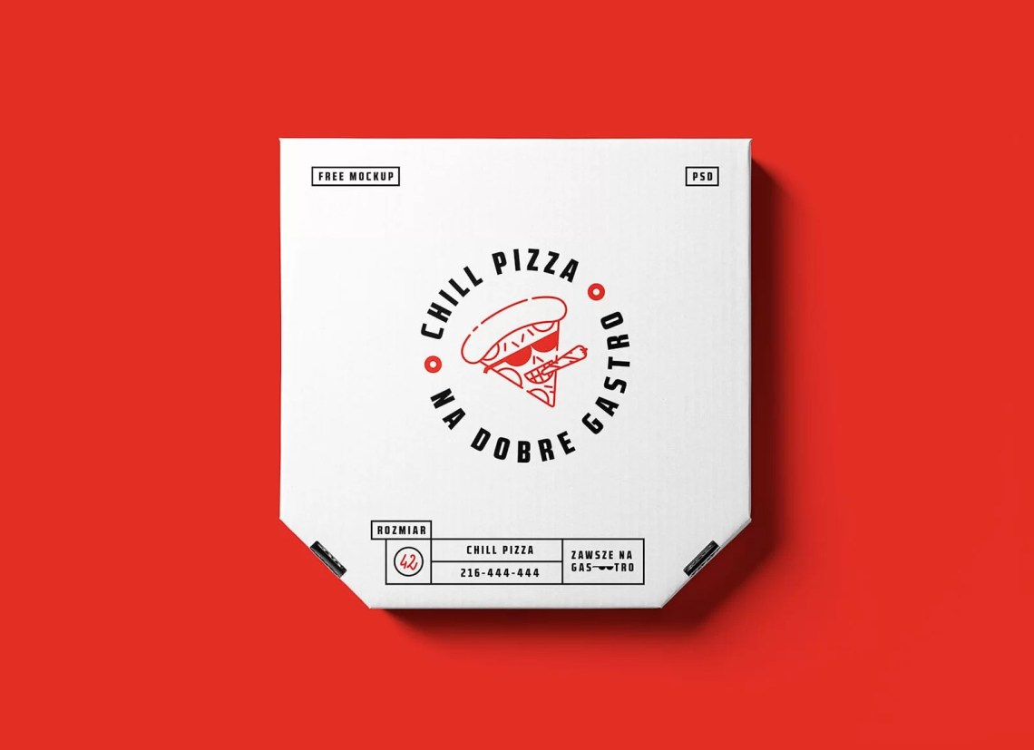 Download Pizza Box Packaging Free PSD Mockup - StockPSD
