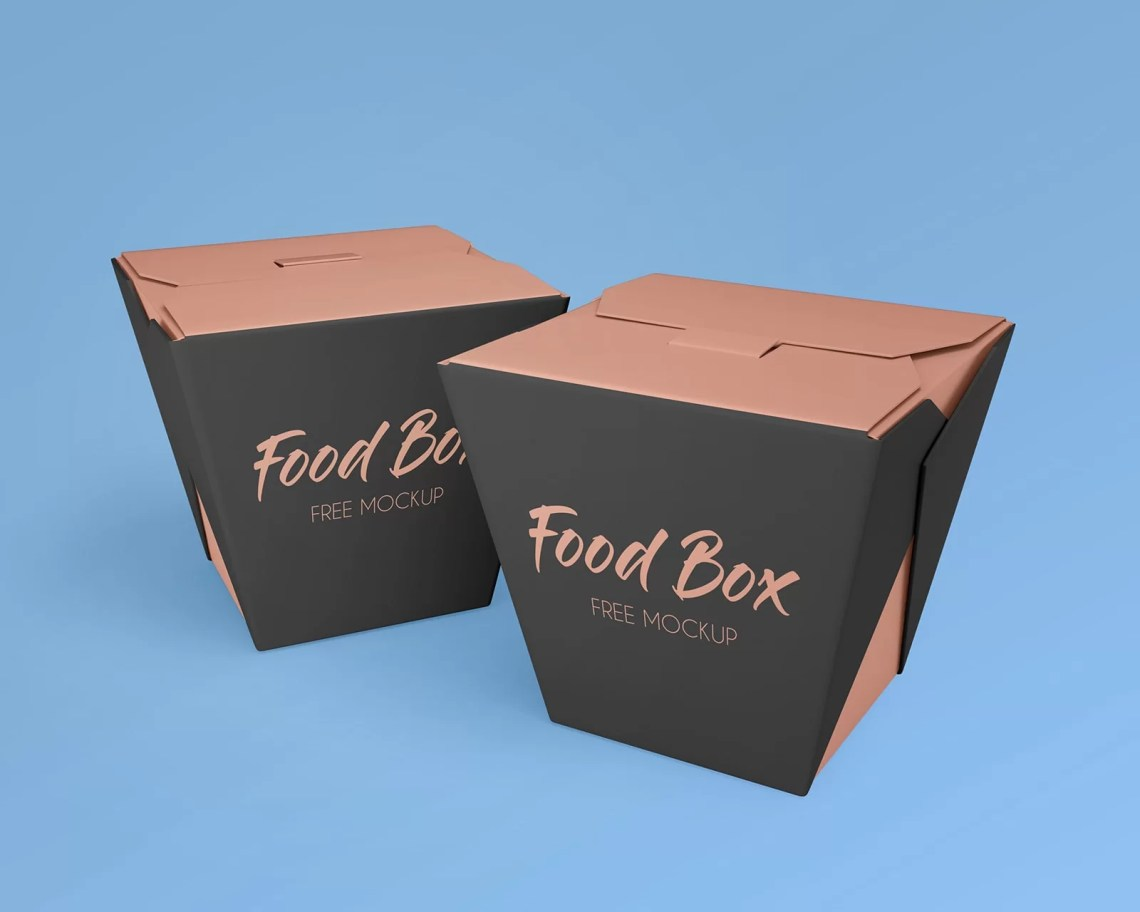 Download Noodle Food Box Packaging Free PSD Mockup - StockPSD