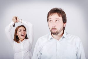 Fight betwen husband and wife, mad woman, confused man