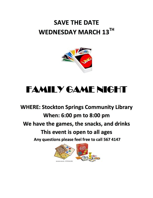 Family Game Night at SSCL, March 13, 6:00 - 8:00 pm. Games, Snacks, Soft Drinks. Free, open to all.