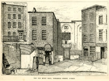 Old Music Hall Dublin Where Messiah Was First Performed Etching By Claude Byrne 1884