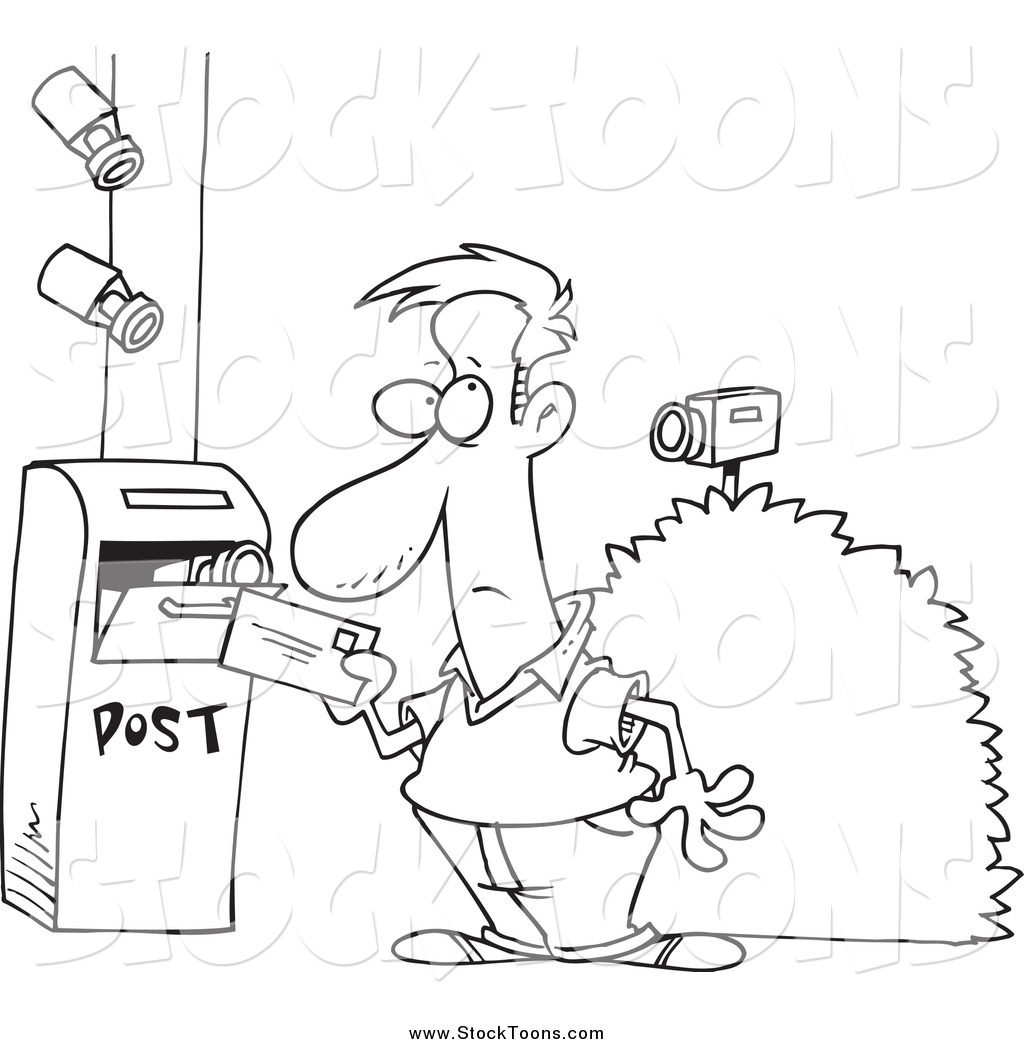 Stock Cartoon Of Security Cameras On A Man Putting A