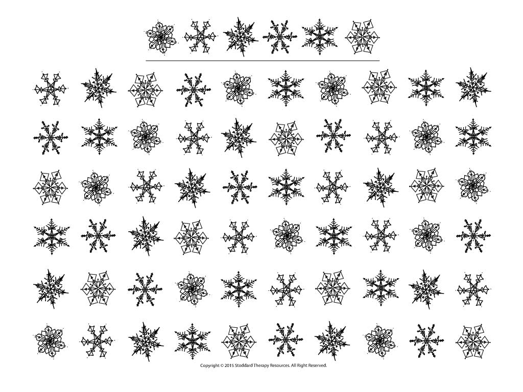 Visual Scanning Snowflakes Letter Organized 60 Image