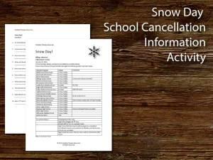 Snow day School Cancellation Activity