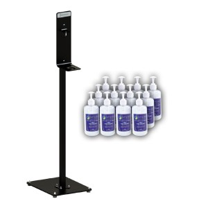 Value Pack - Black Bottle Holder Stand & Sanitiser