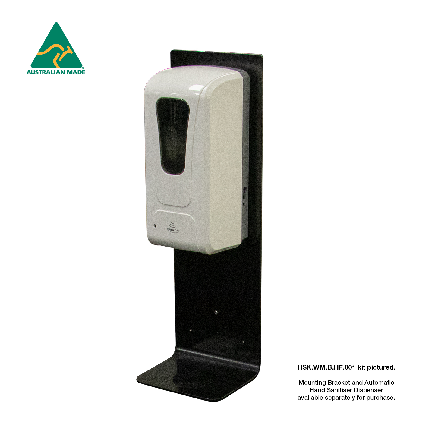 Black Wall Mounting Plate - For Hand Sanitiser Dispenser - Shown with dispenser