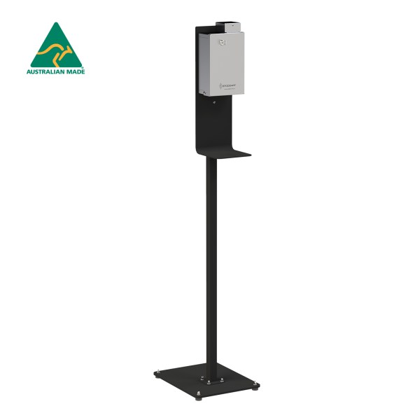 Standard Security Hand Sanitiser Dispenser on Black Powdercoated Stand