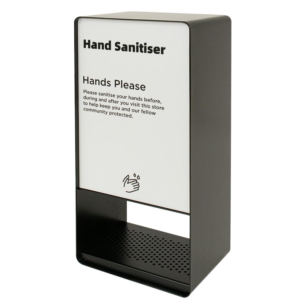 Black Pass Through Hand Sanitiser Dispenser - Side Facing