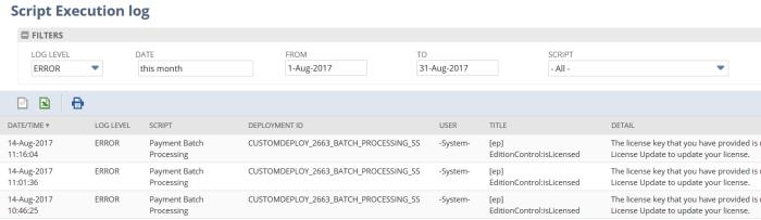 Script Execution Logs Page