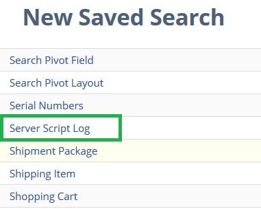Server Script Log Search Type