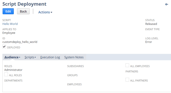 An example of a NetSuite Script Deployment record representing a Client Script deployed to the Employee record that will  only execute for users with the Administrator role.